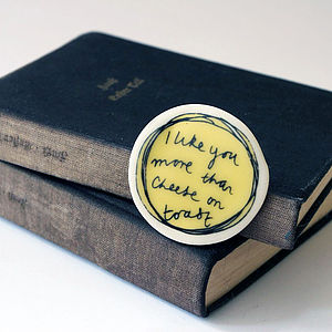 'I Like You More Than Cheese On Toast' Badge - love tokens