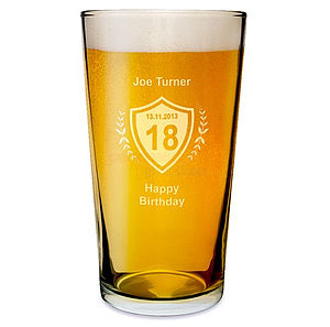Personalised Etched Beer Glass - gifts for him