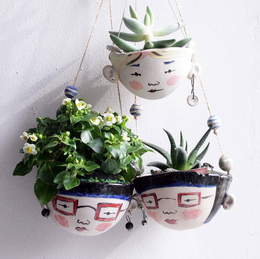 Ceramic Mini Hanging Planter For Small Plants