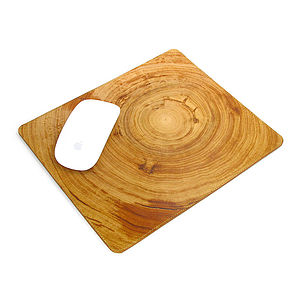 Printed Leather Wood Grain Mouse Mat - desk accessories