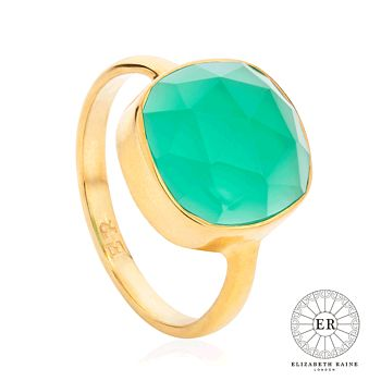 Green Onyx 18 Ct Gold Vermeil Gemstone Ring