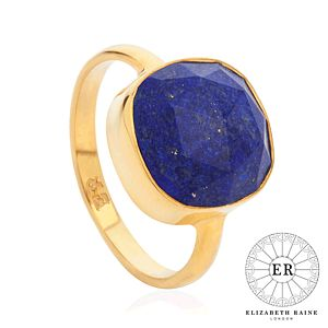 Elizabeth Raine Lapis 18 Ct Gold Vermeil Ring - for children