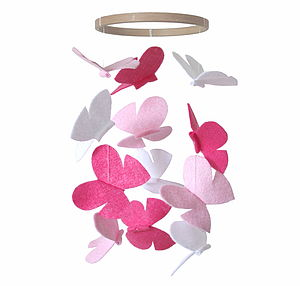 Butterfly Baby Mobile Pink And White