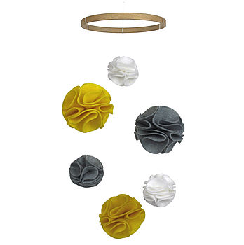Pom Pom Modern Baby Mobile Yellow And Grey