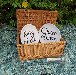 'King Of Pie' And 'Queen Of Cake' Picnic Plate Set - picnics & barbecues
