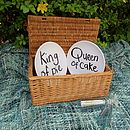 'King Of Pie' And 'Queen Of Cake' Picnic Plate Set