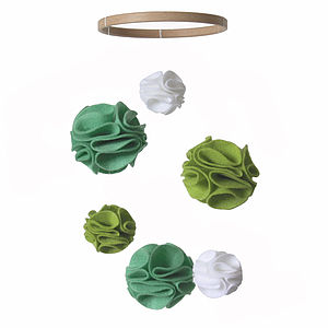 Nursery Mobile Pom Poms Green And White