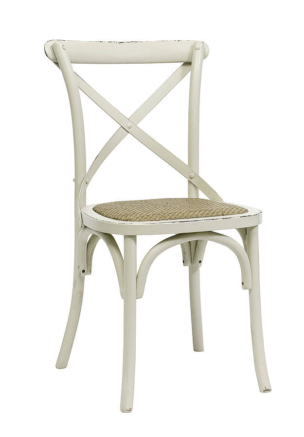 27014 Ant.White Cross Back Chair