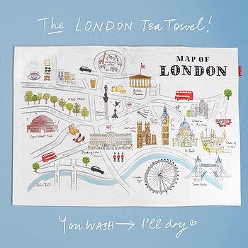Alice Tait 'Map Of London' Tea Towel