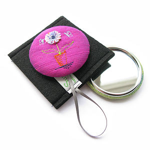 Flower In A Pot Handbag Mirror - compact mirrors