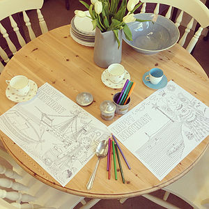 Colour In Pirate Or Princess Placemats X10 - toys & games