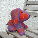 Harris Tweed Dog Doorstop - red/purple check