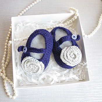 Hand Crochet Flower Baby Shoes