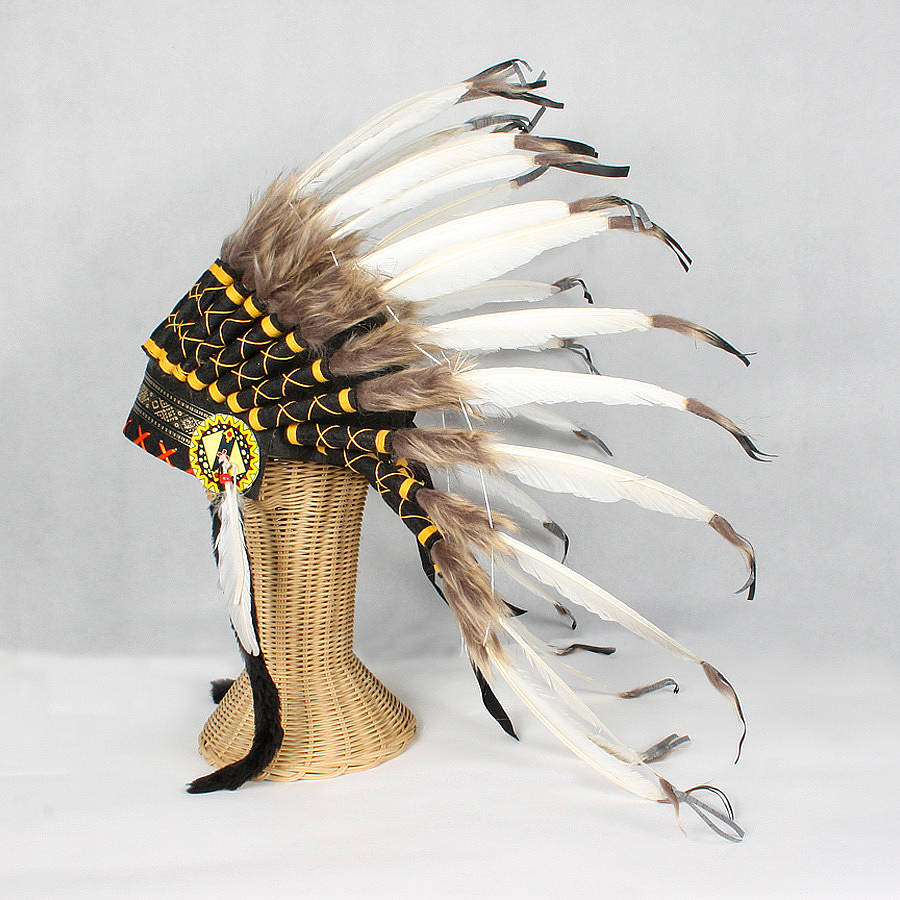 Great Plains Indian Chief Feather Headdress By The
