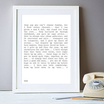'To My Parents' Poem Art Print