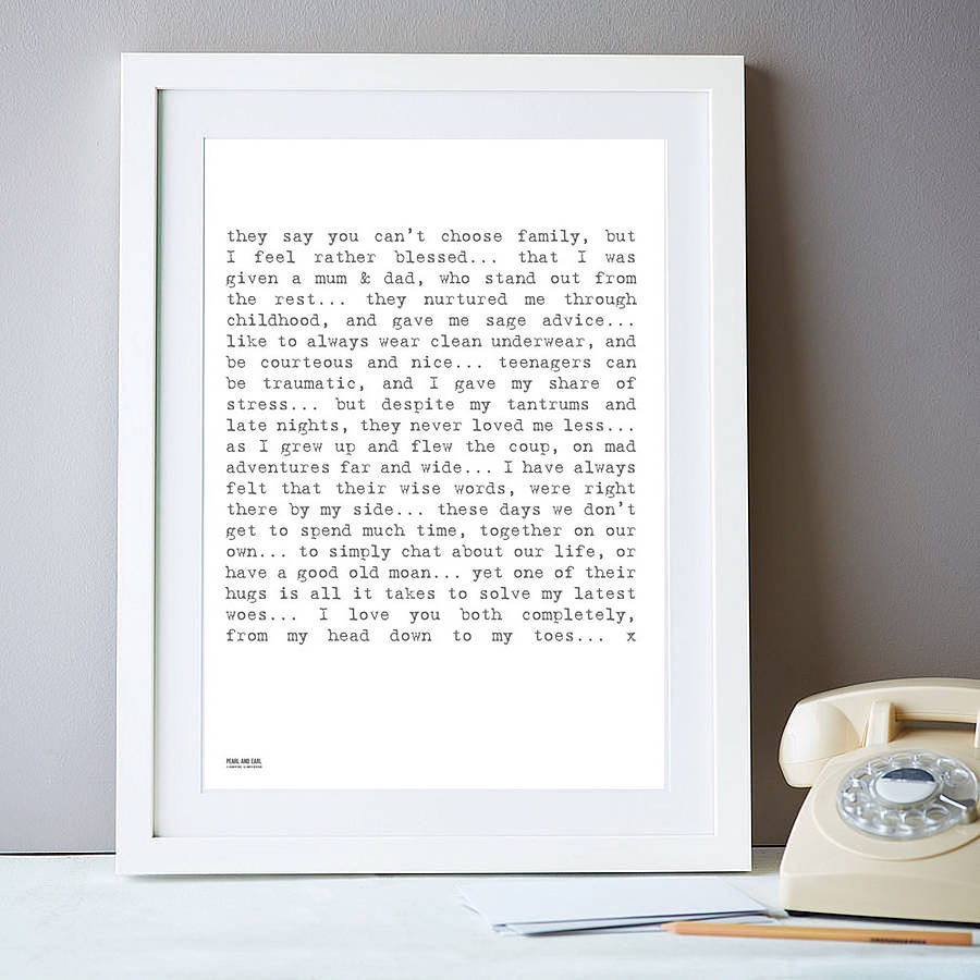 My Parents Poem Art Print
