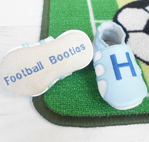 Baby's Initial First Football Booties - gifts for babies