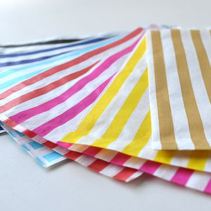 Striped Paper Bags - ribbon & wrap