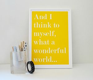 'What A Wonderful World' Art Print