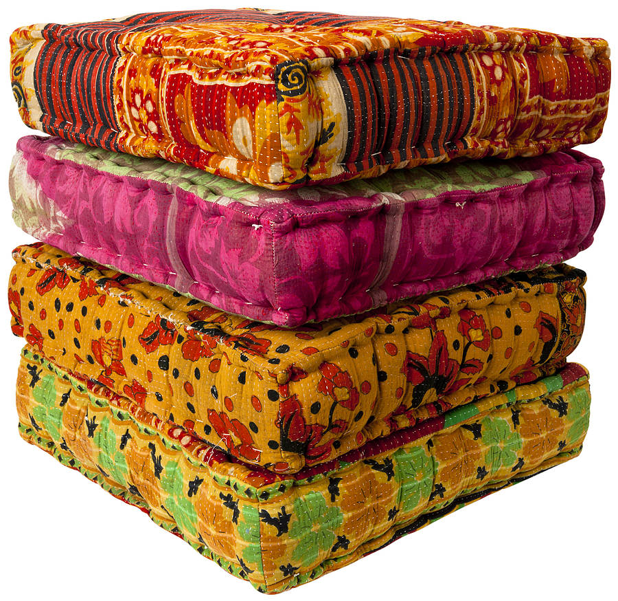 raja hand dyed cotton filled floor cushions by reason season time notonthehighstreet.com