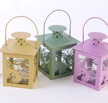 Set Of Three Butterfly Tea Light Lanterns