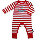 Crown print striped babygrow
