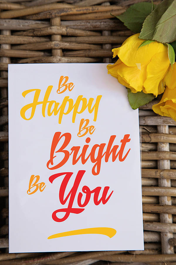 U0027Be Happy Be Bright Be Youu0027 Inspirational Quote Card