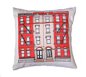 New York Brooklyn Townhouse Cushion - cushions