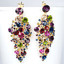 Jewel Tone Chandelier Statement Earrings