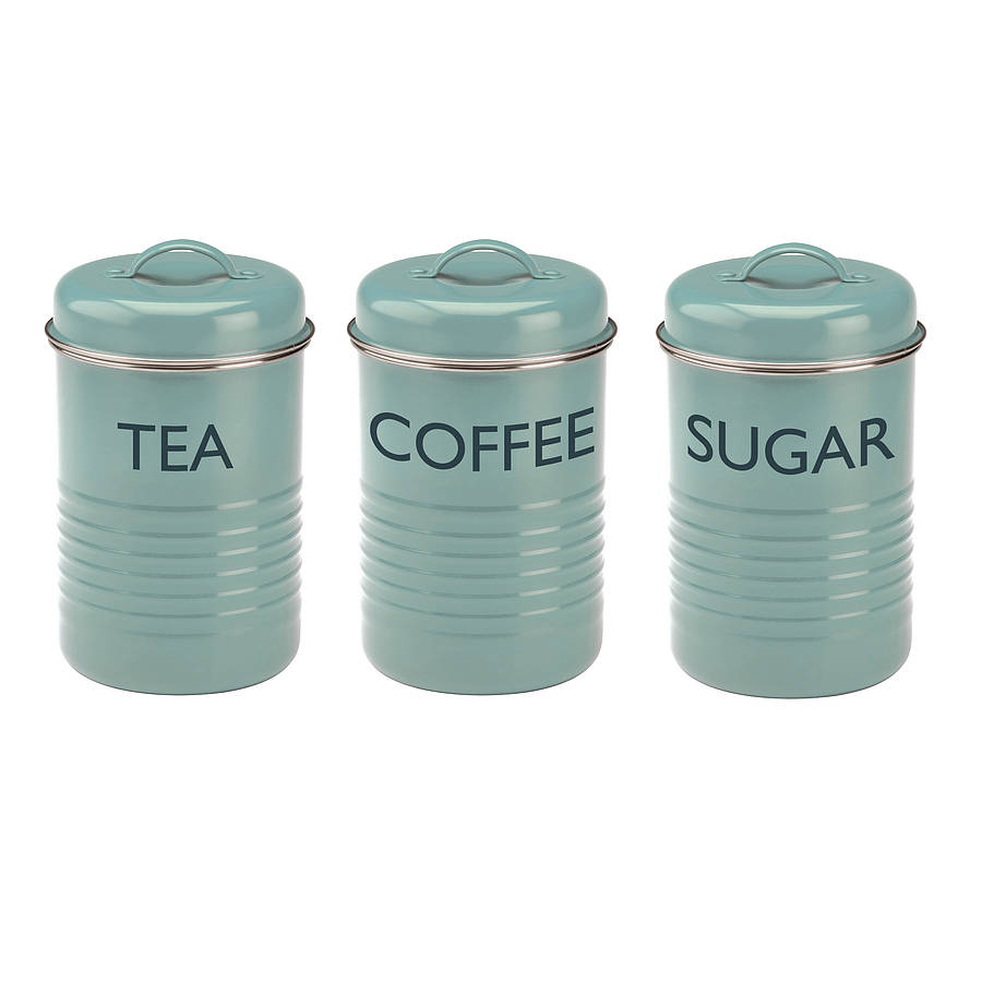 vintage blue tea coffee & sugar canister set by dibor