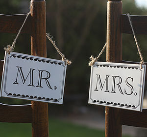 Mr And Mrs Wooden Signs - table decorations