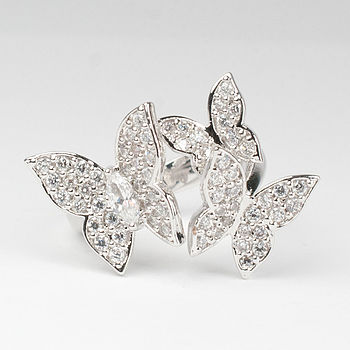 Silver Butterflies Cocktail Ring