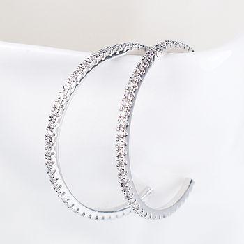 Diamante Silver Hoop Earrings