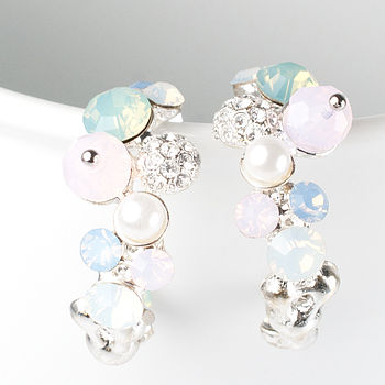 Pastel Cluster Hoop Earrings