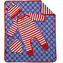 Babygrow with matching bib, hat and blanket