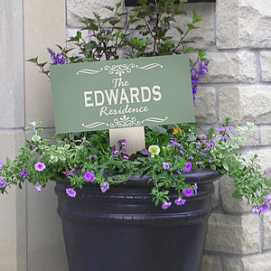 Personalised Enamel House Sign On Stake - gifts under £50