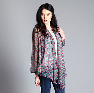 Multiway Print Chiffon Wrap Top - blouses & shirts