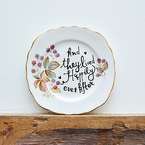 'Happily Ever After' Chatty Vintage Plate - room decorations