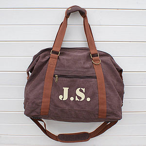 Personalised Canvas Weekend Bag - men's sale