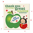 Personalised Thankyou Teach Assist Card Girl