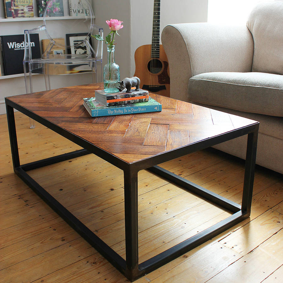 upcycled parquet floor coffee table by ruby rhino
