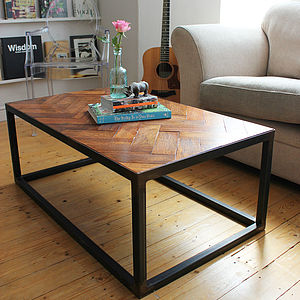 Upcycled Parquet Floor Coffee Table - furniture