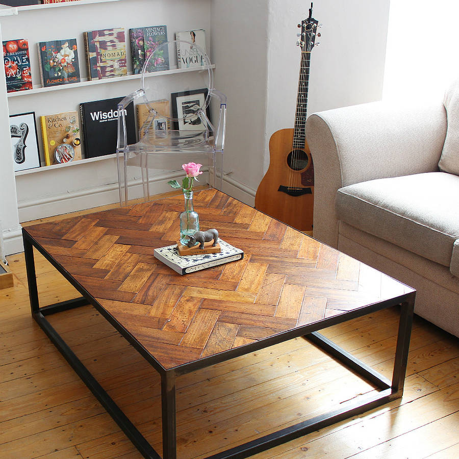 Parquet Steel Coffee Table: Large Upcycled Parquet Floor Coffee Table By Ruby Rhino