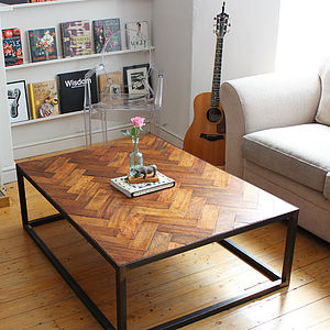 Large Upcycled Parquet Floor Coffee Table - living room