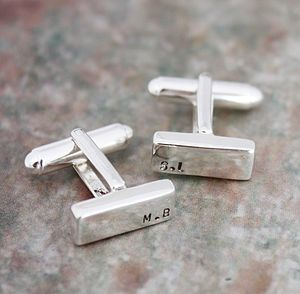 Personalised Monogrammed Rectangle Cufflinks - cufflinks