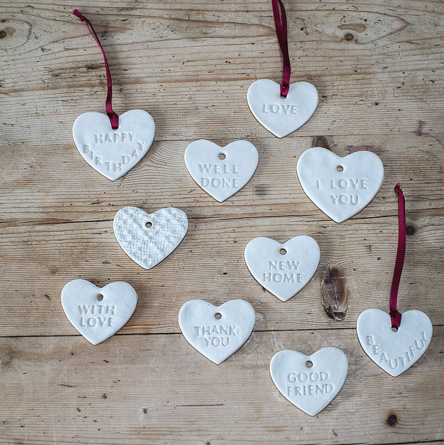 Gift message porcelain heart decorations by clare gage for Heart decoration ideas