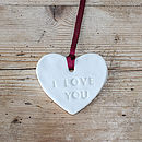 Gift Message Porcelain Heart Decorations