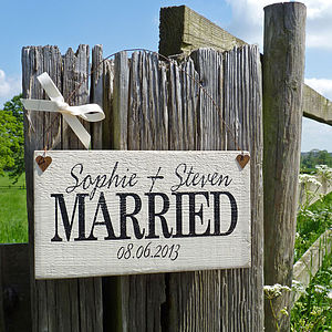 Personalised Hanging Wedding Sign - 5th anniversary: wood