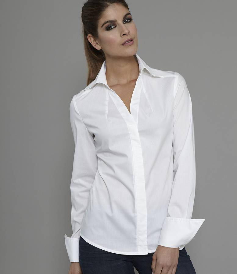 "The easiest way any woman can look great without really trying? Invest in a versatile white blouse. If you're one of the many who think of a plain white shirt as boring, let Coco Chanel be the one to correct you: ""Women think of all colors except the absence of color."