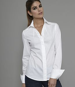 Sharp V Neck, Open Collar Shirt, Madelena - blouses & shirts